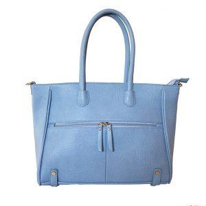 BISOUのフロントファスナーポケットバッグ スモーキーブルー